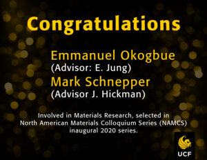 Congratulations: North American Materials Colloquium Series: MSE – UCF